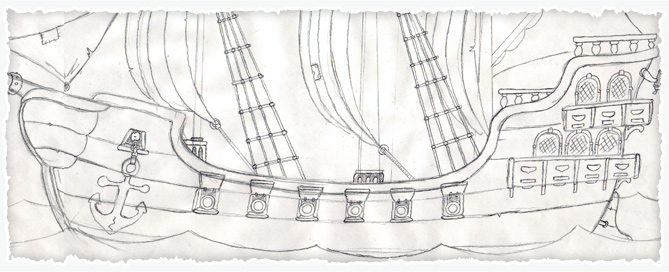 Cartoon Pirate Ship Sketch