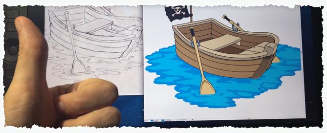 Cartoon rowboat created on my Wacom tablet