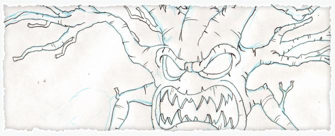 Spooky Halloween Tree Sketch