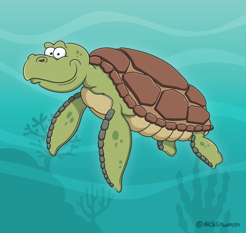 Cartoon Sea Turtle
