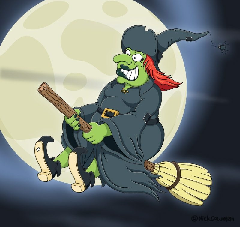 Cartoon Witch On Broomstick