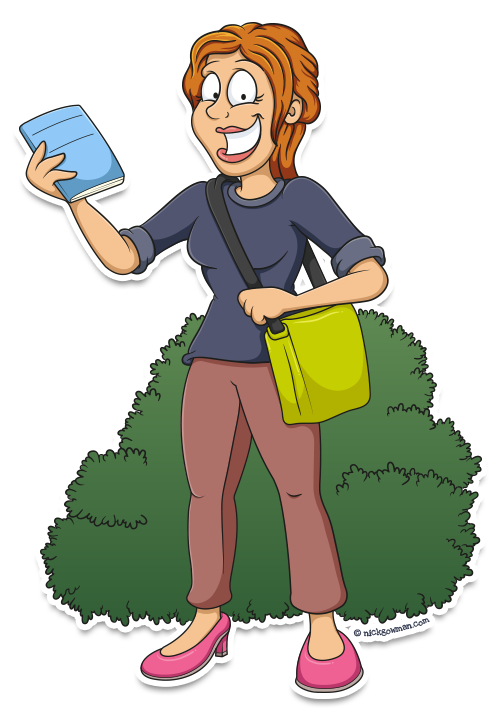 Cartoon woman delivering newsletters