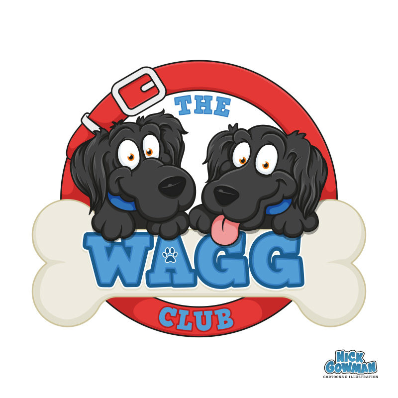 cartoon dog walking logo