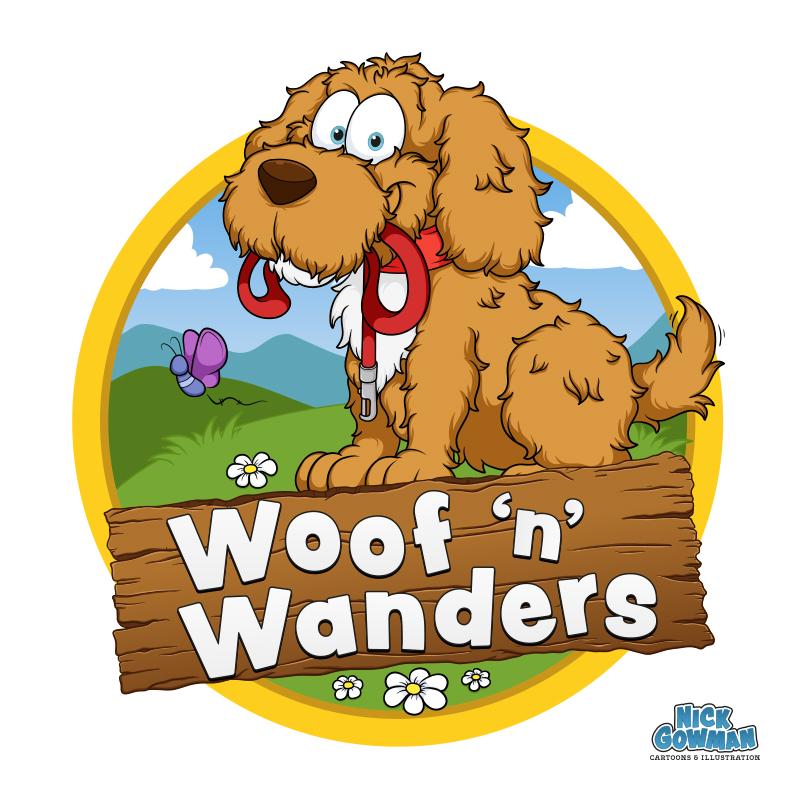 cartoon dog walking logo