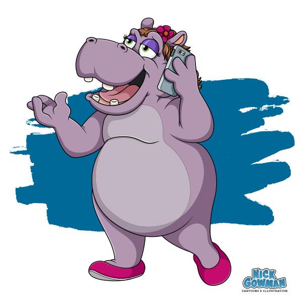 cartoon hippo on the phone