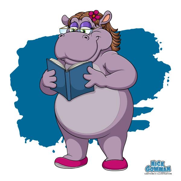 Cartoon hippo reading a book