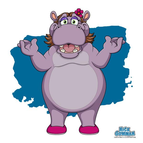 Cartoon hippo talking