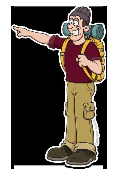cartoon hiker pointing