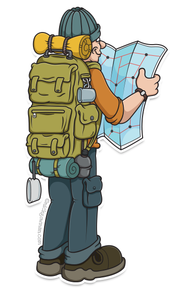 cartoon hiker with map