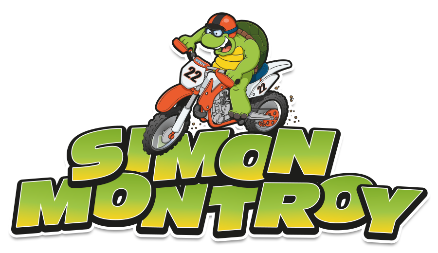 cartoon motorcross mascot design