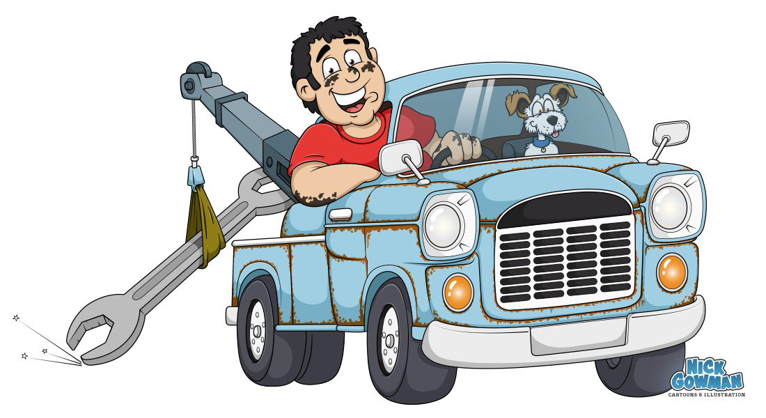 cartoon recovery truck