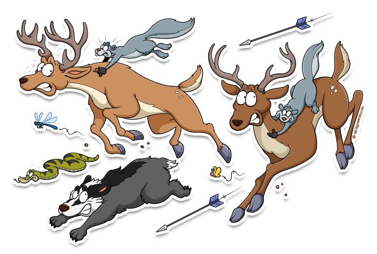 Cartoon woodland creatures