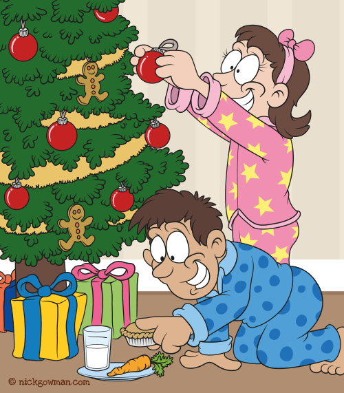 Decorating The Christmas Tree Children's Book Illustration