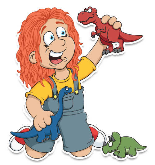 Cartoon girl playing with toy dinosaurs