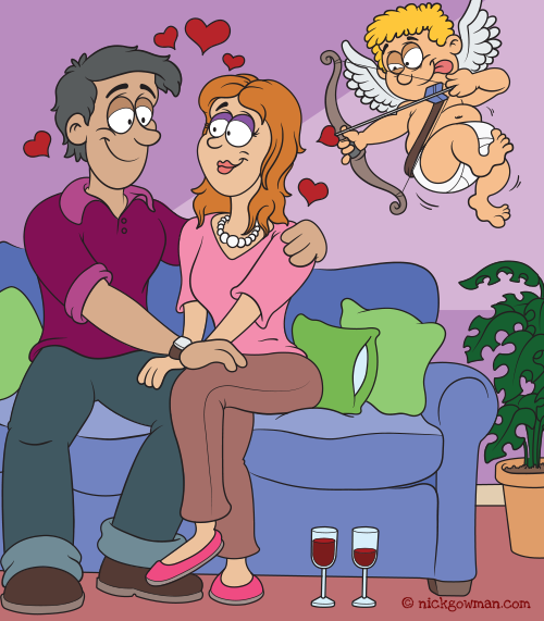 Couple In Love Valentines Cartoon