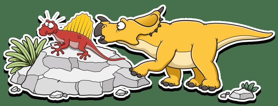 curious dinosaur cartoon