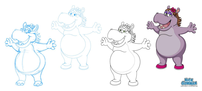 Hippo Cartoon Character Design