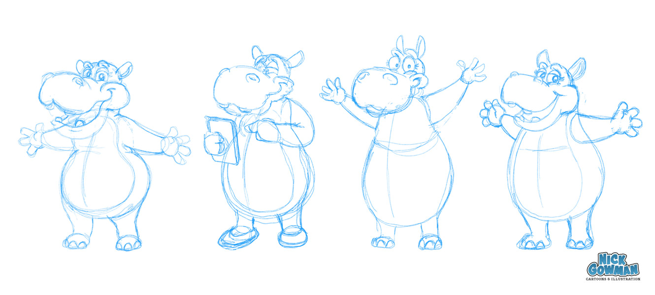 Some initial hippo cartoon character sketches