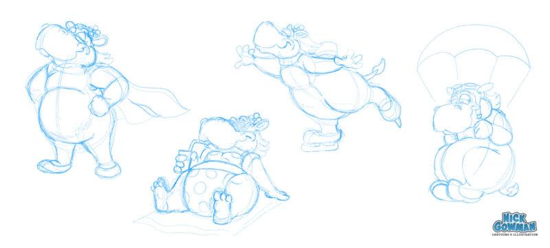 Hippo Cartoon Characters Sketch