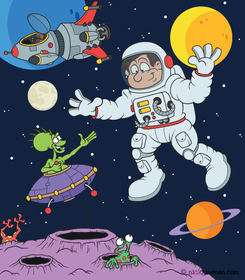 Outer Space Children's Book Illustration