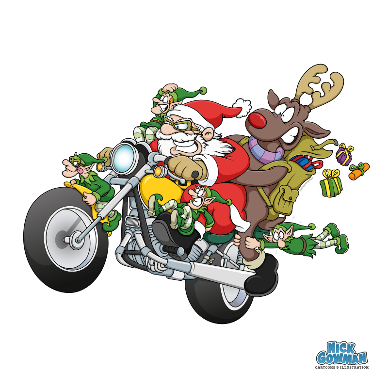 cartoon santa riding on motorbike